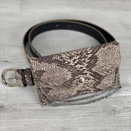 Женская сумка на пояс Майлин кофейная змея