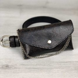 Женская сумка на пояс Майлин коричнево-черная змея