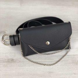 Женская сумка на пояс Майлин черного цвета