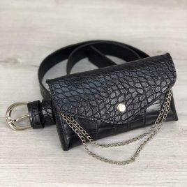Женская сумка на пояс Майлин черный крокодил