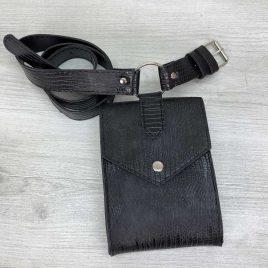 Женская сумка на пояс Ида черная рептилия