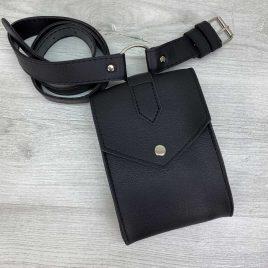 Женская сумка на пояс Ида черная матовая