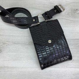 Женская сумка на пояс Ида черный крокодил