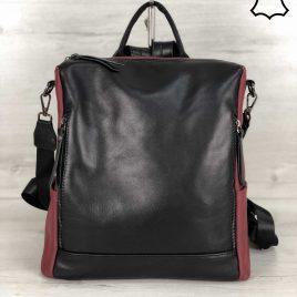 Кожаная сумка-рюкзак Taua бордового цвета