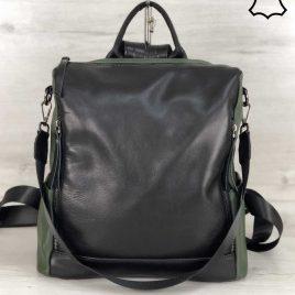 Кожаная сумка-рюкзак Taua оливкового цвета