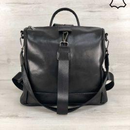 Кожаная сумка-рюкзак Angely черного цвета