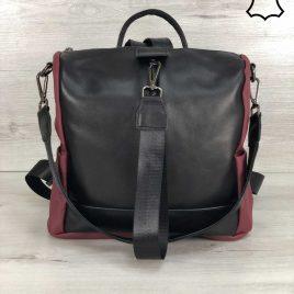 Кожаная сумка-рюкзак Angely цвет черный с бордовым