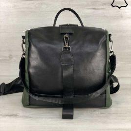 Кожаная сумка-рюкзак Angely цвет черный с оливковым