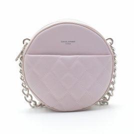 Клатч круглый стеганый пудровый David Jones CM5703T pink розовый с цепочкой