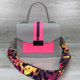 Яркая сумка Dazy серый с малиновым