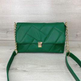 Женская зеленая сумка Паркер стеганый клатч