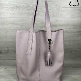 Кожаная сумка-шоппер Ulia фиалкового цвета