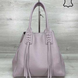 Кожаная женская сумка шоппер Akua сиреневая