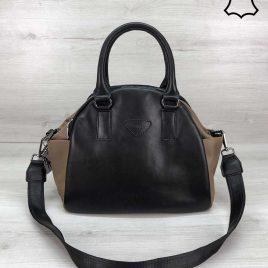 Кожаная сумка Elly черного цвета с кофейным