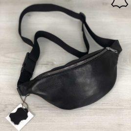 Кожаная сумка Бананка черного цвета (унисекс)