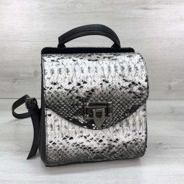 Сумка-рюкзак Christy черно-белая рептилия