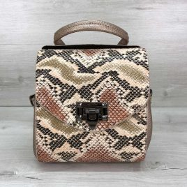 Сумка-рюкзак Christy бежевая рептилия