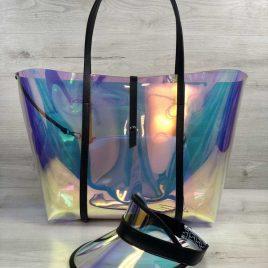 Яркий летний комплект 3в1 перламутровая силиконовая сумка и кепка с черным